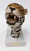 After O Meredith. 'Night Stalker Jaguar', resin model of a jaguar's head, bearing teeth, signed, on