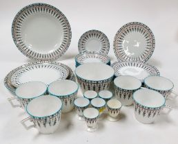 A Crown Derby part tea service, with blue borders and flowers in the drop pattern, circa 1880, compr