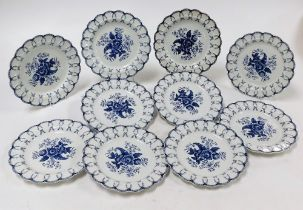 A set of ten Booths blue and white plates, in Worcester style, each with floral fret border and cent
