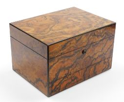 A late 19thC figured walnut writing box, the outer exterior with flamed detailing, and single drawer