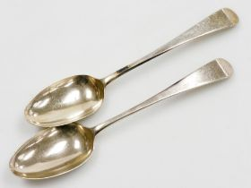 A pair of George III silver tablespoons, Old English pattern, initialled 'J A W', London 1787, maker
