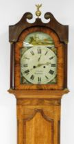 J. Saltby of Grantham. A 19thC oak and mahogany longcase clock, with swan pediment hood with bulbous