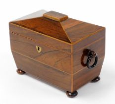 A 19thC rosewood tea caddy, with a domed top, opening to reveal two sections each with bone handle,