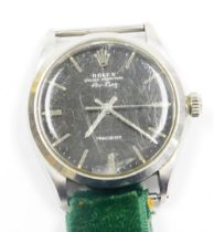 A Rolex Oyster Perpetual Air-King wristwatch, with black dial and precision movement, in stainless s