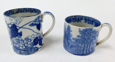 A large 19thC Pearlware mug, with blue and white transfer landscape and figure decoration, 9cm high,