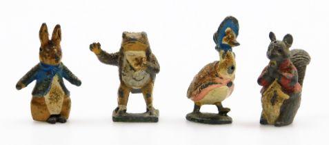 Four vintage Beatrix Potter painted figures, comprising Jeremy Fisher, Jemima Puddle-Duck, Peter Rab