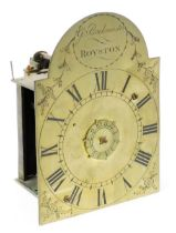 G Buckmister, Royston. An 18thC lantern clock, the brass plate front with Roman Numerals and central