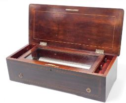 A late 19thC cylinder musical box