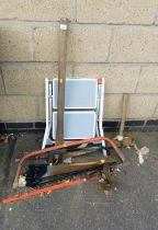 Various tools and accessories, miniature step ladder, saws, door lasts, mallet, etc.