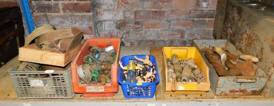 A quantity of tools, to include ratchet sets, hose pipe parts, tool box, wrestling figures, etc. (1