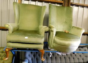 Two green draylon armchairs, to include one wingback and one side chair. The upholstery in this lot