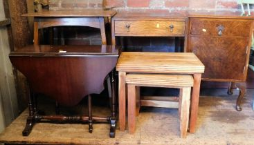 A group of furniture, to include walnut bedside, drop leaf table, nest of tables and two oak side ta