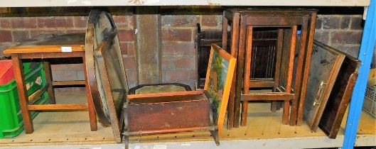 A group of furniture, to include side table, two wall mirrors, a bathroom mirror, nest of tables, tr