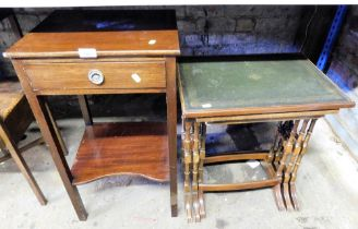 A side table, and a nest of tables with a green leather inset top. (2)