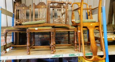A group of dining chairs, to include a set of four oak dining chairs with James Phillips & Sons of B
