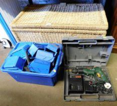 An Edwardian walnut wicker storage basket, various tool shelves, a Bosch PSB drill, etc.