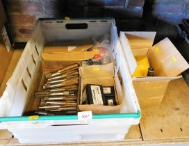 Various tools, to include drill bits, tap sets, milling machine parts. (2 boxes)