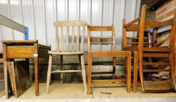 A group of furniture, to include a piano stool, a rush seated chair, three 19thC elm chairs, etc. (a
