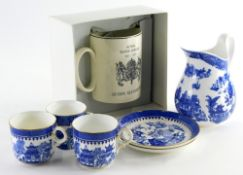 A collection of ceramics, to include a Royal Worcester blue and white part tea service, and a