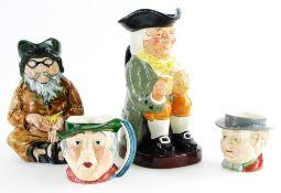 A Royal Doulton Toby jug Happy John, a Staffordshire ceramics figure of a blind beggar, a Beswick Mr