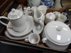 A white finish part tea and dinner service, teapot, egg cups, gravy boats, meat plates, etc. (1 box)