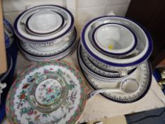 An Empress part dinner service, including oval meat plate, two large tureens and two smaller, dinner