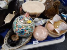 Ceramics and effects, jar and cover, egg cups, hen bowl, blue and white thimbles, shell Japanese sty
