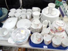 A Victoria china part dinner service, white Arte Vere dinner wares, Pyrex bowls, etc. (a quantity)