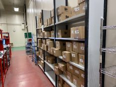 Metal shelving grey/black, 3 bays, 5 shelves, width 1.3m, depth 0.42m, height 2.7m - to be disassemb