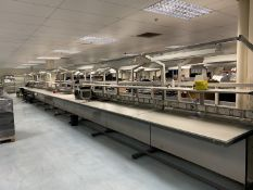 5x Work benches with trunking power sockets, shelving and overhead lighting, grey metal frame