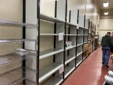 Metal shelving grey/black, 7 bays, 5 shelves, width 1.3m, depth 0.42m, height 2.7m - to be disassemb