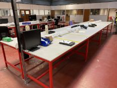 4x Worktop table, red frame, laminate worktop, trunking with sockets, data and RCD protection