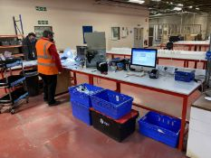 3x Worktop table, red frame, laminate worktop, trunking with sockets, data and RCD protection