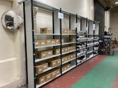 Metal shelving grey/black, 5 bays, 5 shelves, width 1.3m, depth 0.42m, height 2.7m - to be disassemb
