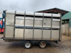12ft T/A IFOR WILLIAMS LIVESTOCK TRAILER C/W SHEEP DECKS AND DIVIDING GATE FOR CATTLE. by kind