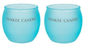 + VAT Brand New Pair of Colourful Roly Poly Aqua Votive Yankee Candle Holder