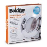 + VAT Brand New Beldray Double-Sided LED Vanity Mirror - 360 Degree Rotation - Easy Folding Stand -