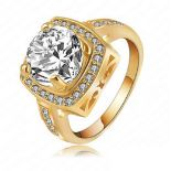 + VAT Brand New Gold Plated Square Crystal Ladies Ring