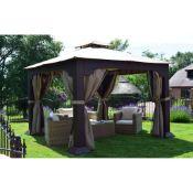 + VAT Brand New Chelsea Garden Company Luxury 3m x 3m Aluminium Frame Rattan Gazebo With