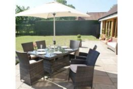 + VAT Brand New Chelsea Garden Company Six Seat Rectangular Outdoor Dining Set - Grey Rattan &