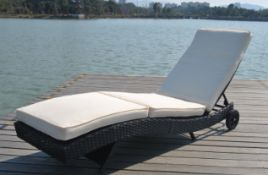 + VAT Brand New Chelsea Garden Company Dark Brown Rattan Sunbed - Steel Framed - Include Cushion -
