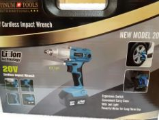 + VAT Brand New 20v Cordless Impact Wrench M36A Including Extra Battery-Quick Charger-4 Sockets-LED