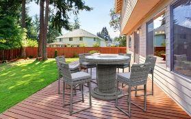 + VAT Brand New Chelsea Garden Company 6 Seater Circular Table Set With Grey Cushions - Aluminium