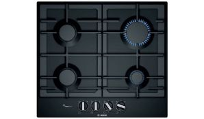 + VAT Grade A/B Bosch PCP6A6B90 Cast Iron Support Gas Hob - Four Cooking Zones - Automatic Ignition