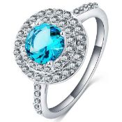+ VAT Brand New Platinum Plated Round Blue and White Stone Cocktail Ring