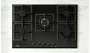 + VAT Grade A/B New World NWLEG75 Cast Iron Support Gas Hob - Five Cooking Zones - Dial Control -