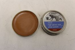 + VAT Grade A A Lot of Ten 50ml Tins Clarks Mid Tan High Gloss Wax Shoe Polish ISP £20
