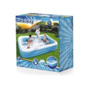 + VAT Brand New Bestway 3m Deluxe Rectangular Inflatable Paddling Pool - Two Interlock Quick