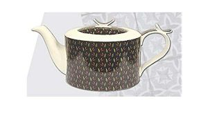 + VAT Brand New Jameson + Tailor Brilliant Porcelain Modern Tealeafs On Black Background Teapot