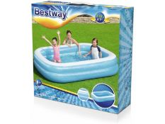 + VAT Brand New Bestway 2.62m Deluxe Rectangular Inflatable Paddling Pool - Two Interlock Quick